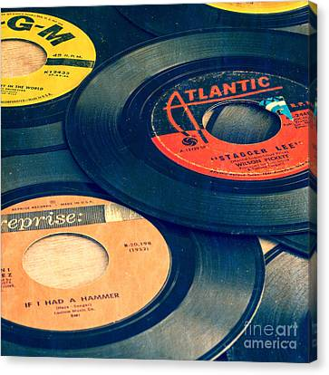 Old 45 Records Square Format Canvas Print by Edward Fielding