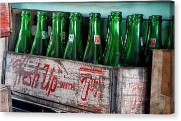 Old 7 Up Bottles Canvas Print by Thomas Woolworth