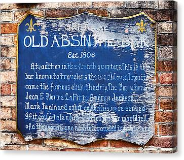 Old Absinthe Bar - Bourbon Street Canvas Print by Bill Cannon