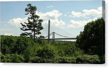 Old And New Bridges Over Penobscot Canvas Print by David Fiske