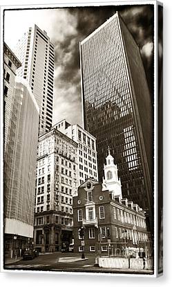 Old And New In Boston Canvas Print by John Rizzuto