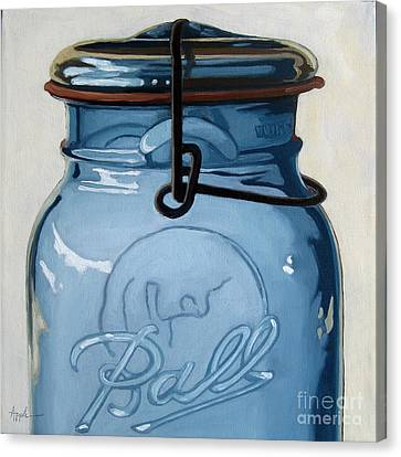 Old Ball Jar -oil Painting Canvas Print by Linda Apple