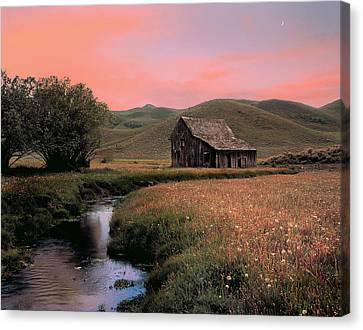 Old Barn In The Pioneer Mountains Canvas Print by Leland D Howard