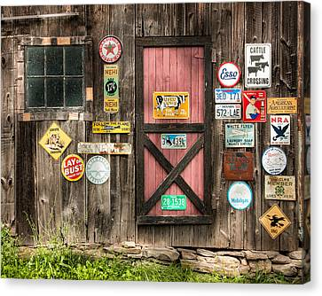 Old Barn Signs - Door And Window - Shadow Play Canvas Print by Gary Heller