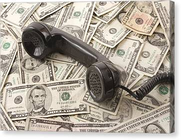 Old Black Phone Receiver On Money Background Canvas Print by Keith Webber Jr