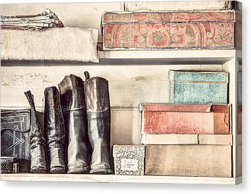 Old Boots And Boxes - On The Shelves Of A 19th Century General Store Canvas Print by Gary Heller