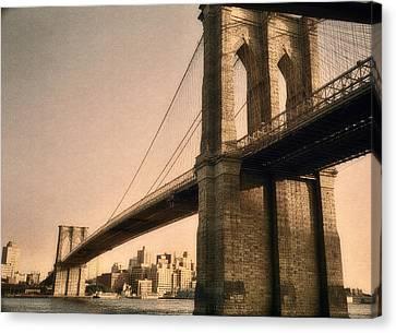 Old Brooklyn Bridge Canvas Print by Joann Vitali