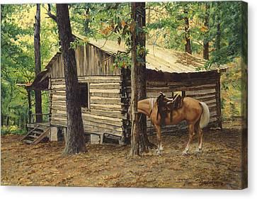Log Cabin - Back View - At Big Creek Canvas Print by Don  Langeneckert