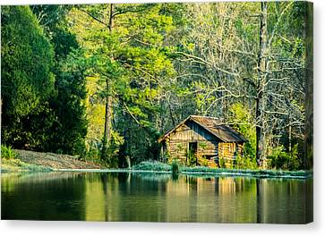 Old Cabin By The Pond Canvas Print by Parker Cunningham