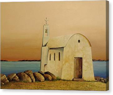 Old Chapel On Mykonos Canvas Print by Martin Schmidt