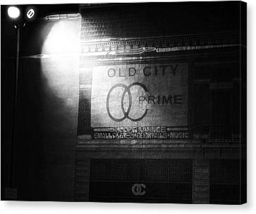 Old City Prime Restaurant At Night Canvas Print by Dan Sproul