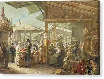 Old Covent Garden Market Canvas Print by George the Elder Scharf