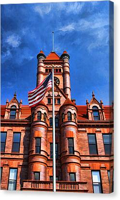 Old Dupage County Courthouse Flag Canvas Print by Christopher Arndt