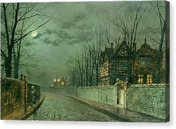 Old English House, Moonlight Canvas Print by John Atkinson Grimshaw