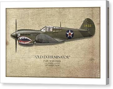 Old Exterminator P-40 Warhawk - Map Background Canvas Print by Craig Tinder