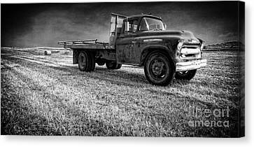 Old Farm Truck Black And White Canvas Print by Edward Fielding