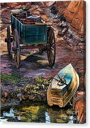 Old Fashion Cart And Boat  Canvas Print by Lee Dos Santos