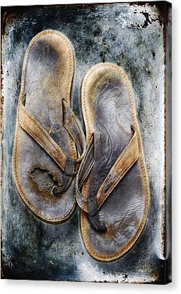 Old Flip Flops Canvas Print by Skip Nall