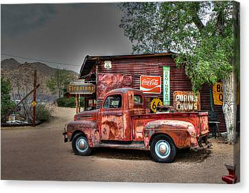 Old Ford Pickup On Route 66 Canvas Print by Lynn Jordan