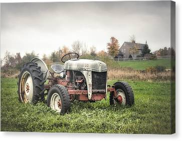 Old Ford Tractor And Farm House Canvas Print by Gary Heller