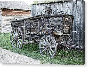Old Freight Wagon - Montana Territory Canvas Print by Daniel Hagerman