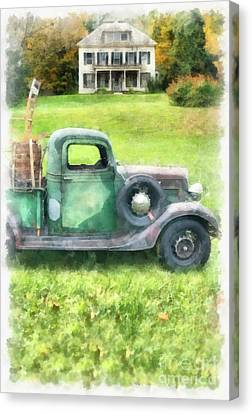 Old Green Pickup Truck Canvas Print by Edward Fielding