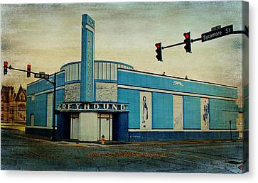 Old Greyhound Bus Station Canvas Print by Sandy Keeton