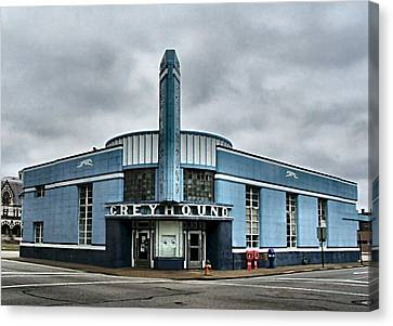 Old Greyhound Bus Terminal  Canvas Print by Julie Dant