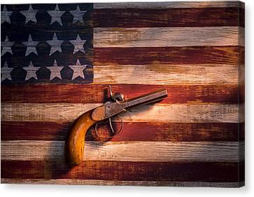 Old Gun On Folk Art Flag Canvas Print by Garry Gay