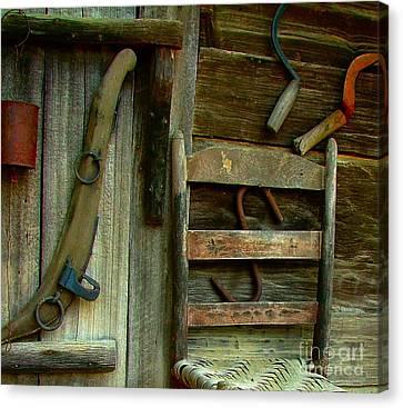 Old Hanging Ladderback Canvas Print by Julie Dant