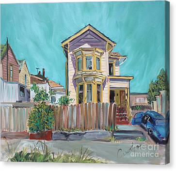 Old House In East Oakland Canvas Print by Asha Carolyn Young