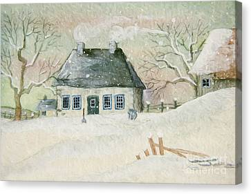 Old House In The Snow/ Painted Digitally Canvas Print by Sandra Cunningham