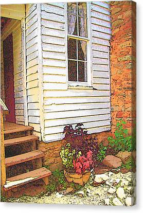 Old House Welcome Flowers Canvas Print by Rebecca Korpita