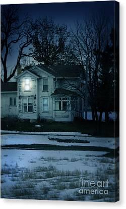 Old House Window Lit At Night Canvas Print by Jill Battaglia