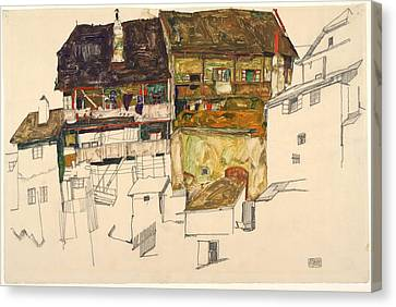 Old Houses In Krumau Canvas Print by Egon Schiele
