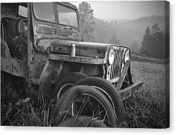 Old Jeep Canvas Print by Jerry Mann