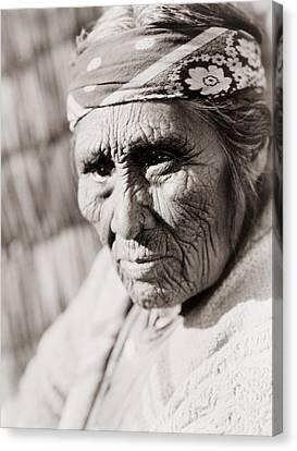 Old Klamath Woman Circa 1923 Canvas Print by Aged Pixel