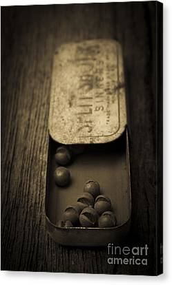 Old Lead Fishing Sinkers In Tin Canvas Print by Edward Fielding