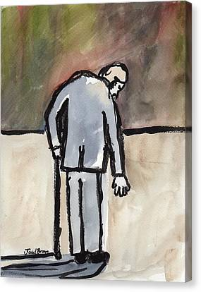 Old Man At The Deli Canvas Print by Janel Bragg