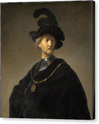 Old Man With A Gold Chain Canvas Print by Rembrandt van Rijn