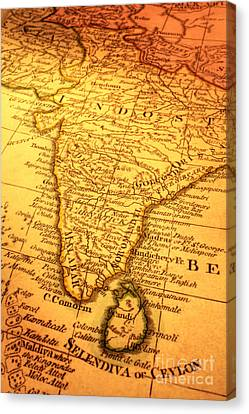 Old Map Of India And Sri Lanka Canvas Print by Colin and Linda McKie
