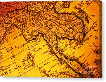 Old Map Thailand Siam Malaya Asia Burma Thailand Cambodia Laos Canvas Print by Colin and Linda McKie
