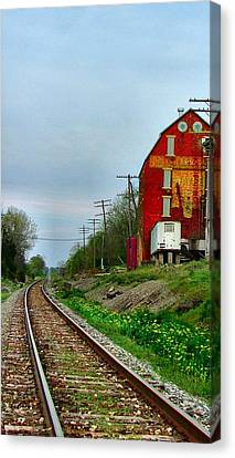 Old Mill On The Tracks Canvas Print by Julie Dant