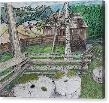 Old Mill Stones Canvas Print by David Cardwell