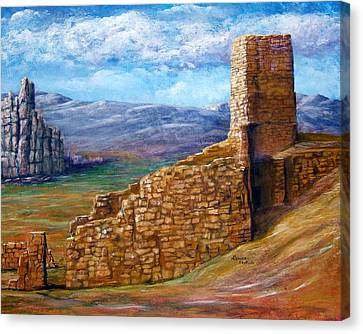 Old Mission Landscape New Mexico Canvas Print by Lenora  De Lude