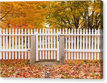 Old New England White Picket Fence Canvas Print by Edward Fielding