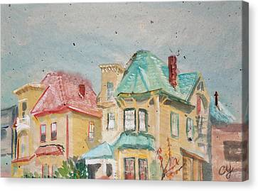 Old Oakland Houses On A Foggy Day Canvas Print by Asha Carolyn Young
