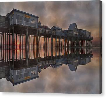 Old Orchard Pier Reflection Canvas Print by Betsy C Knapp
