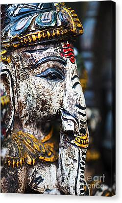 Old Painted Wooden Ganesha Canvas Print by Tim Gainey