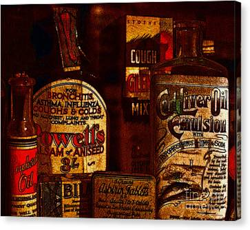 Old Pharmacy Bottles - 20130118 V2b Canvas Print by Wingsdomain Art and Photography